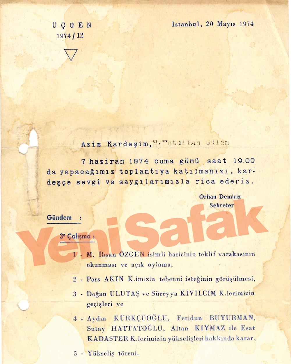 Fethullah Gülen, 20 Mayıs 1974'de bazı Masonların yükseliş törenine davet ediliyor