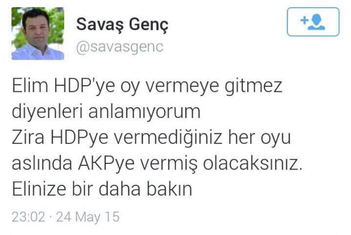 Fatih Üniversitesi öğretim üyesi Genç'in HDP'ye oy istediği twiti.