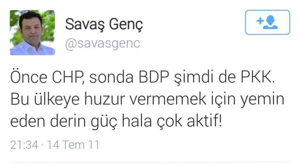 Genç, 2011'de ise yerini HDP'ye bırakan BDP'yi derin güç olarak tanımlamıştı..