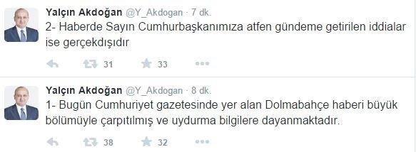 Başbakan Yardımcısı Akdoğan, sosyal medyadan yaptığı açıklamada, Cumhuriyet gazetesinde yer alan bilgilerin çarpıtılmış olduğunu ve Cumhurbaşkanı Erdoğan'a atfedilen iddiaların gerçek dışı olduğunu belirtti.