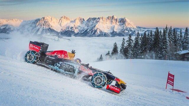 Formula 1 aracını kayak pistinde kullandı