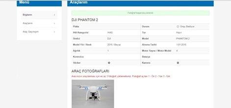 Yukarıdaki bilgileri girmemizin ertesinde sistem pilot bilgilerimizi onaylayacak. Bunun ardından sertifikamızı, drone'umuzun araç bilgilerini ve 3 farklı fotoğrafını sisteme ekliyoruz.