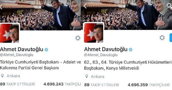 Ahmet Davutoğlu'nun Twitter hesabındaki kişisel bilgiler bölümünde 'Türkiye Cumhuriyeti Başbakanı - Adalet ve Kalkınması Partisi Genel Başkanı' yazıyordu.