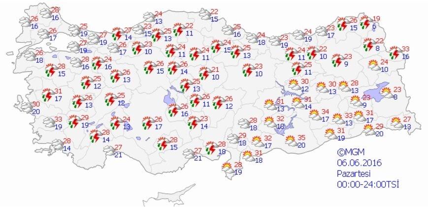 Meteorolojinin, Ramazan'ın ilk günü için hava durumu tahmin haritası