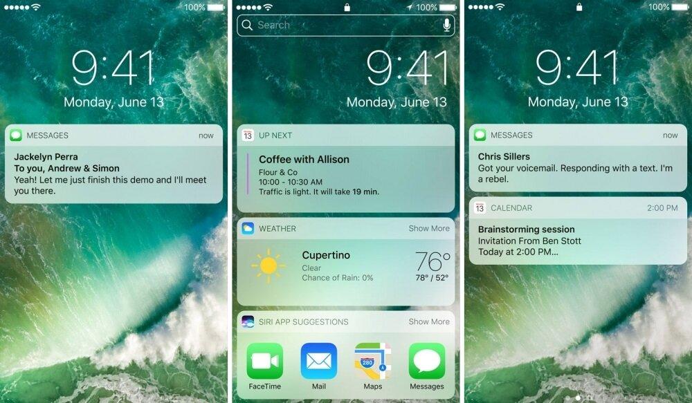 iOS 10 ile birlikte kilit ekranı tasarımı değişecek. Bildirimler çok daha farklı görünecek.