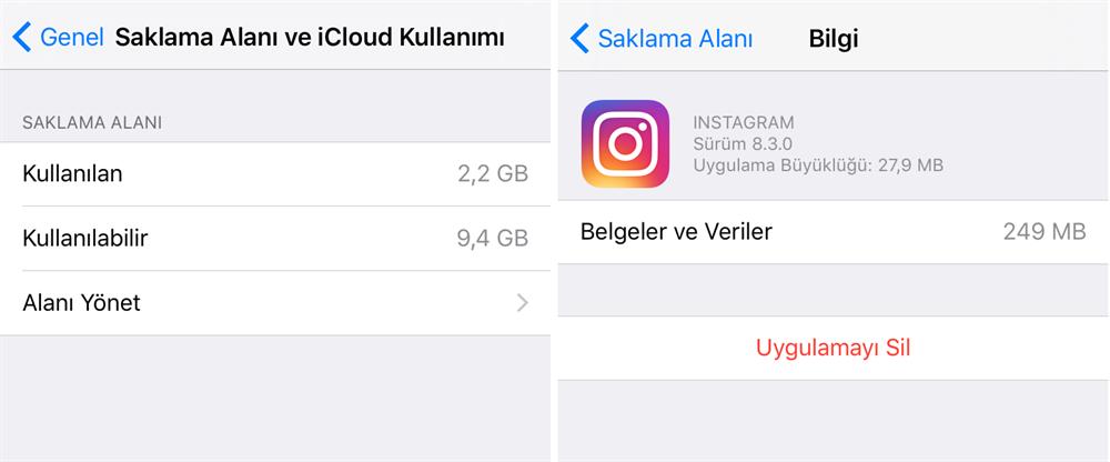 Günlük kullandığımız uygulamalarda önbelleği 'Belgeler ve Veriler' adı altında şişiyor. Örneğin Instagram'da geziniyorsunuz ve sistem görüntülediğiniz fotoğrafları önbelleğinde kaydediyor. Bu da hafızada gereksiz yer kaplıyor. Fakat sorun şu ki bu verileri silemiyoruz. Android müsaade ediyor fakat iOS buna izin vermiyor. Bunun için en kısayol o uygulamayı kaldırıp yeniden yüklemek. Böylece gereksiz önbellekten kurtulmuş oluyoruz.