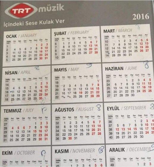 TRT Müzik'in kurumsal takviminde 15 Temmuz'un 'kırmızı' ile belirlenmiş olduğu net bir şekilde görülüyor.