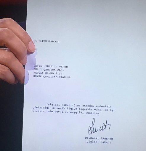 Akşener'in, Veren'e gönderdiği 'teşekkür' mektubu.