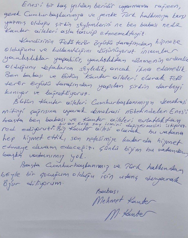 Mehmet Kanter'in FETÖ'cü oğlu Enes Kanter için yazdığı o mektup.