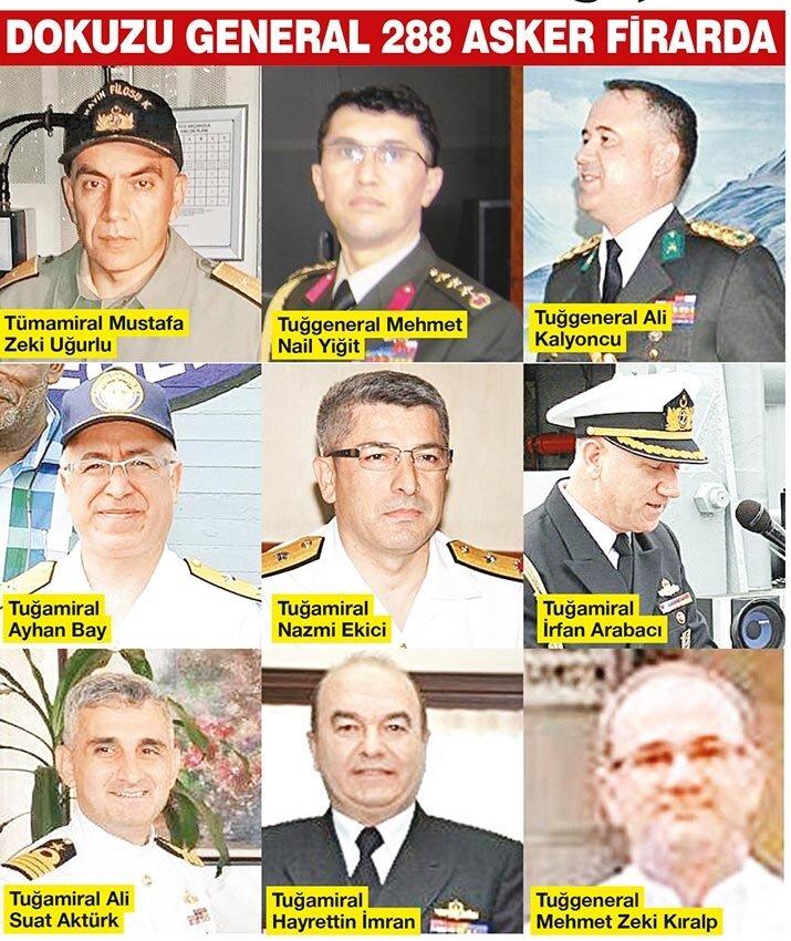 9'u general olmak üzere 288 asker firari durumda.