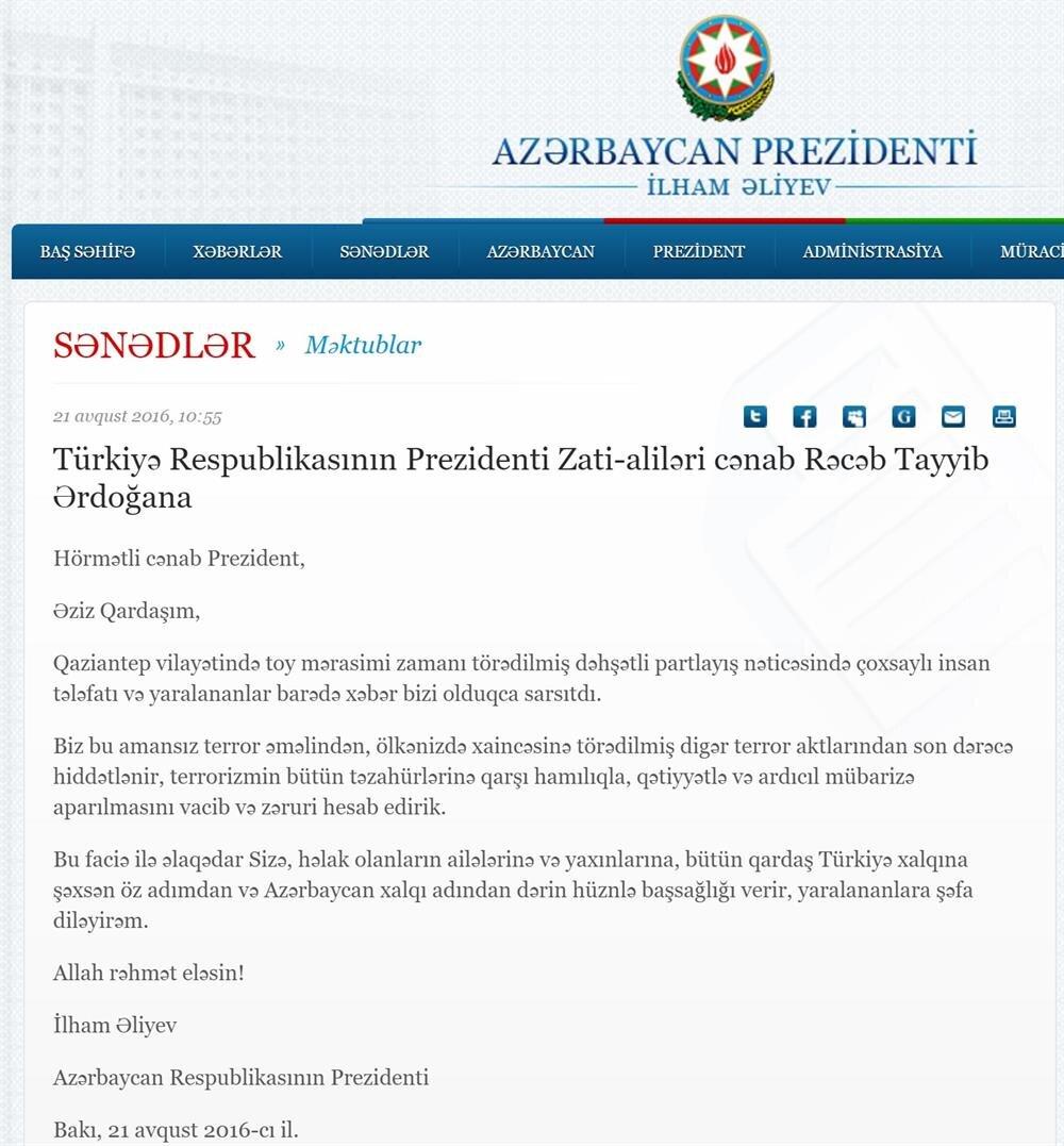 Azerbaycan Devlet Başkanı İlham Aliyev, Cumhurbaşkanı Erdoğan'a yazdığı mektuba 'Aziz kardeşim' ifadesiyle başladı.