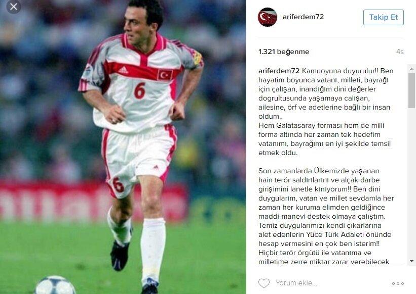 Arif Erdem, önceki günlerde Instagram hesabından bu paylaşımı yapmıştı.