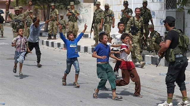 Syrian children cheer over retake of Jarablus