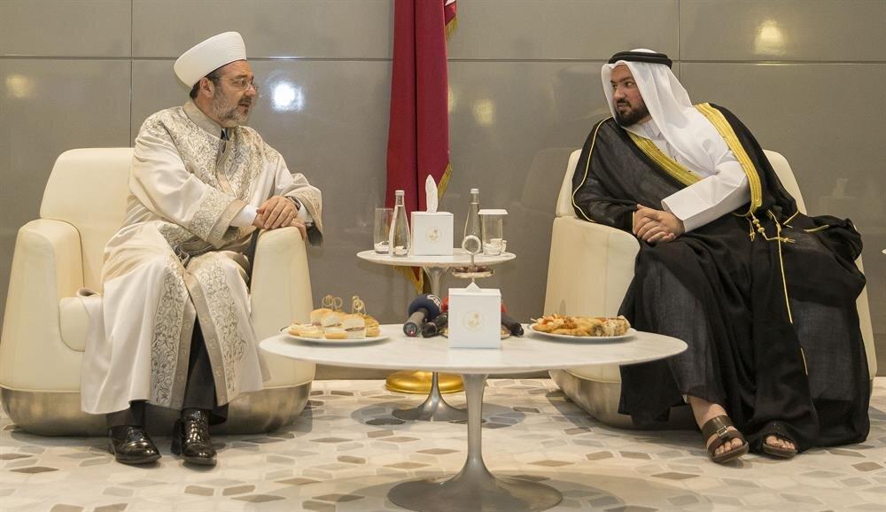 Diyanet İşleri Başkanı Mehmet Görmez, Katar Evkaf ve İslam İşleri Bakanı Gays bin Mubarek el-Kuvari ile görüştü.