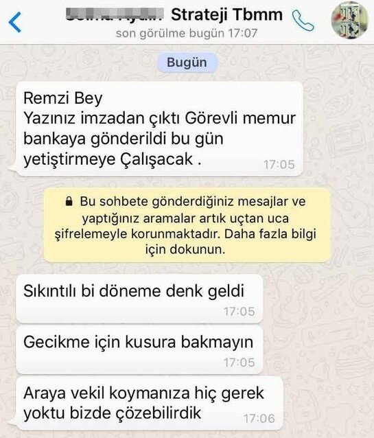 Remzi D., Strateji Geliştirme Başkanlığı Başkan Yardımcısı S.A.'dan gelmiş gibi oluşturduğu mesajı para aldığı kişilerden birine gönderdi.