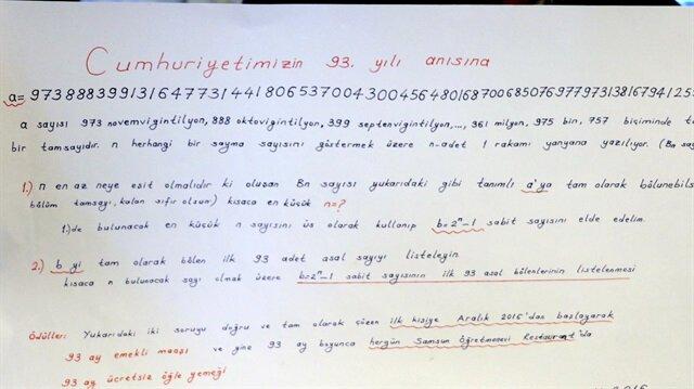 Samsunlu emekli matematik öğretmeni, hazırladığı 2 matematik sorusunu 5 Aralık 2016 saat 18.00´e kadar çözen ilk kişiye 93 ay süresince emekli maaşını vereceğini açıklamıştı.
