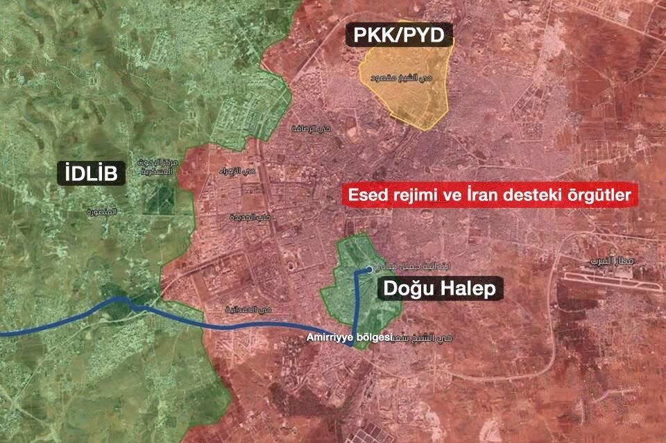 Halep'ten tahliye edilecek olan sivil ve muhaliflerin izleyeceği rota.