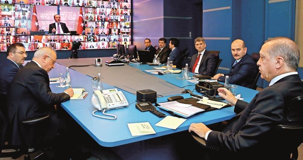 Cumhurbaşkanı Erdoğan 81 ilin valisi ile telekonferans bağlantısı yaptı.