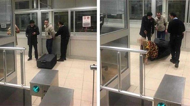 Bavuldan kadının çıkmasının üzerine polis ekipleri şaşkınlık yaşadı.