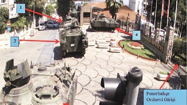 İddianamede darbeci askerilerin orduevi önüne gelişleri, silahlı bir şekilde dizilişleri ve orduevindeki rütbelilerin ikna çabalarını gösteren fotoğraflara da yer verildi.