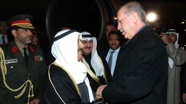 Cumhurbaşkanı Erdoğan, Kuveyt Emiri el Sabah'ı Esenboğa Havalimanı'nda karşıladı