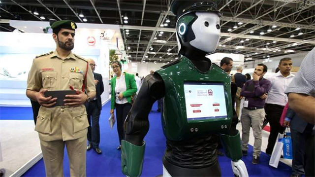 "The latest prototypes of the robot cops, aptly dubbed ""Robocop"", were unveiled late last year at the Gulf Information Technology Exhibition (GITEX"