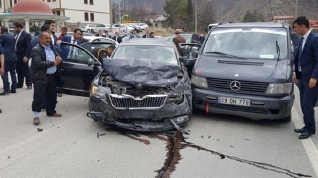 Milli Savunma Bakanı Fikri Işık' ın Gümüşhane programı sırasında konvoyunda kaza meydana geldi.