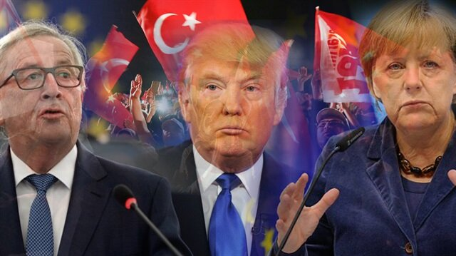 AB Komisyonu Başkanı Jean Claude Juncker, ABD Başkanı Donald Trump, Almanya Başbakanı Angela Merkel.