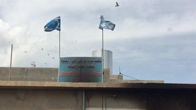 Kundaklanan Türkmeneli parti binasından görüntüler