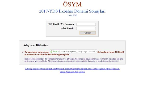 YDS sonuçları sonuc.osym.gov.tr adresi üzerinden açıklanacak.