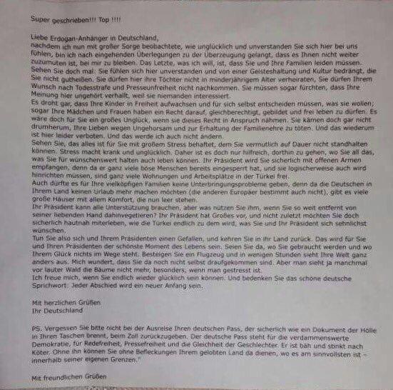 Almanya'nın Brühl kentinde Türk vatandaşlarının posta kutularına tehdit mektubu atıldı.