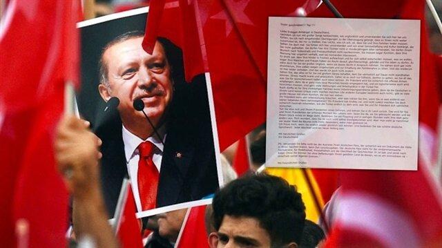 """Almanya'nın Brühl kentinde Türk vatandaşlarının posta kutularına 'Erdoğan'ı destekleyenler ülkeyi terk etsin"""" şeklinde tehdit dolu bir mektup bırakıldı."""