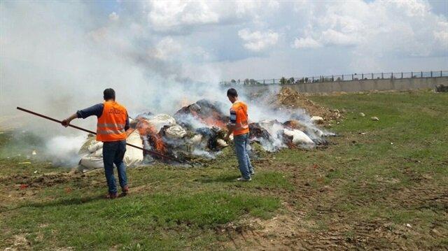 Diyarbakır'da ele geçirilen 30 ton uyuşturucu imha edildi