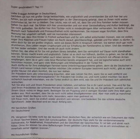A photograph of the racist letter.