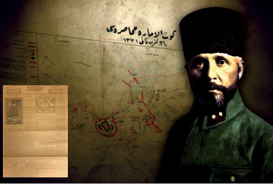 """Kahraman kumandan gazetede! Nureddin Paşa'nın Selman'ı Pak'ta İngilizlere vurduğu ağır darbe Tasvir-i Efkâr gazetesinin 8 Kanunuevvel (Aralık) 1915 tarihli nüshasında """"Cephe-i Irak'ın kahraman kumandanı"""" başlığı ile duyurulmuştur."""