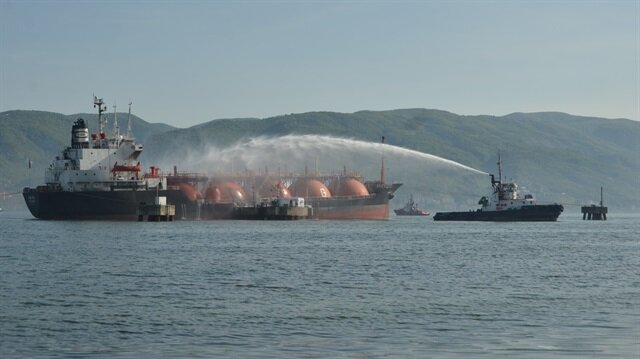 Petroleum gas tanker catches fire in Turkey's gulf of Izmit