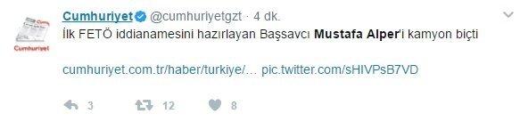 Cumhuriyet'in daha sonra sildiği tweetin ekran görüntüsü kullanıcılar tarafından paylaşıldı.