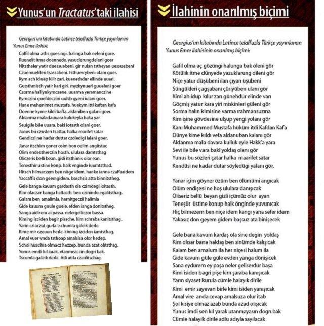 """Georgius'un """"sermones"""" adını verdiği Yunus ilahilerinin yer aldığı Tractatus'un 1481 baskısının 119. ve 120. sayfaları (sol alt köşe) (H. İnalcık, G. Renda, Osmanlı Uygarlığı 2, 2004)."""