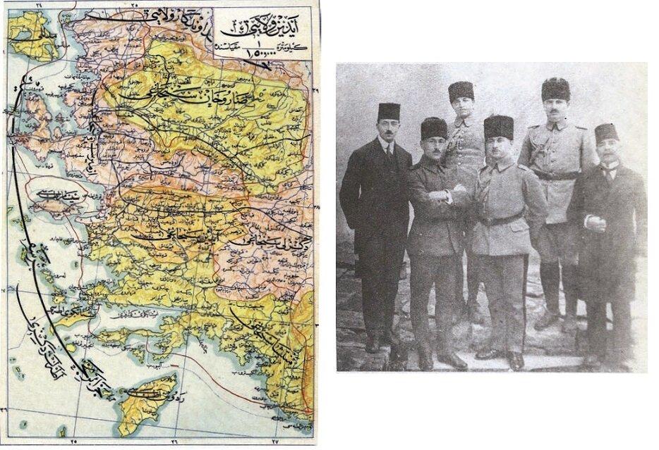 Anadolu Heyeti'ne gazeteci olarak katılan Burhan Cahid ve yaverleri (üstte). 20. yüzyıl başlarında İzmir, Manisa, Aydın, Muğla ve Denizli Sancağından oluşan Aydın Vilâyeti haritası (karşı sayfa). İzmir'in işgali, bu bölgeyi ziyaret edip Antalya, Konya ve Eskişehir'e uğrayan Anadolu Heyeti'nin görevinin sonlanmasına sebep olmuştu. Heyet-i Nasiha'nın ziyaret ettiği güzergâhtaki bir kısım şehirleri gösteren Osmanlı dönemine ait bir Aydın Vilayeti haritası.