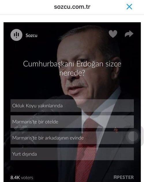 Sözcü gazetesinin, Cumhurbaşkanı Erdoğan'ın yerine deşifre etmek için anket bile yaptığı ortaya çıktı.