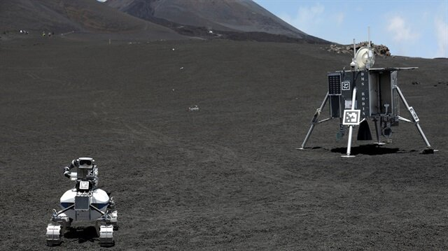 Robots are seen on the Mount Etna, Italy