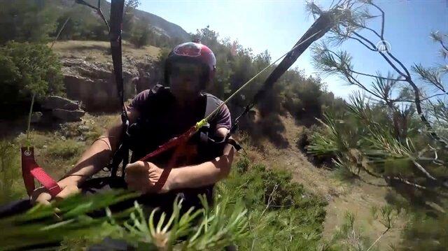 Afyonlu paraşütçünün ağaca çakılma anı kamerada!