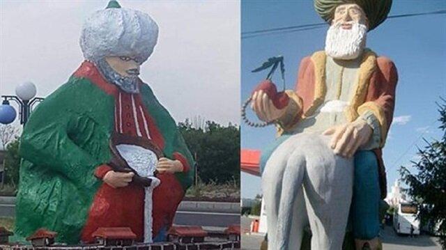 Nasreddin Hoca heykelleri tepki aldı belediye devreye giriyor