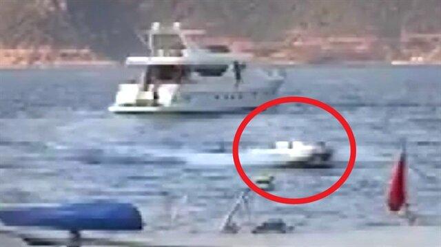 Kaptanı denize düşen bot denizde korku saçtı!