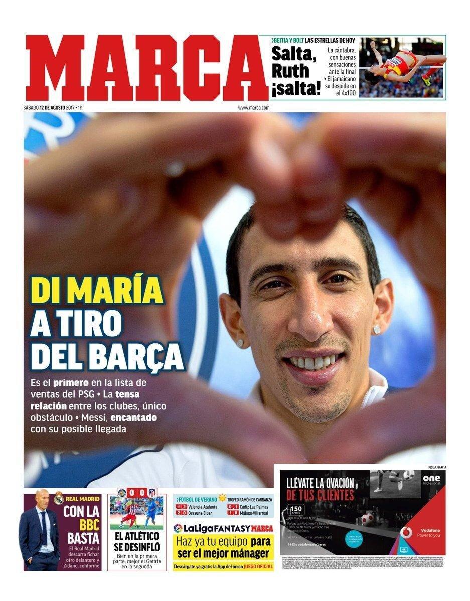 Marca, bugünkü manşetini Barcelona'nın Di Maria ilgisine ayırdı.