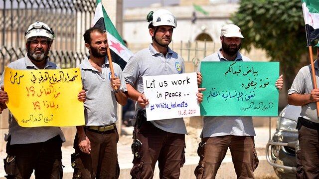Suriye'de Beyaz Baretlilere destek gösterileri