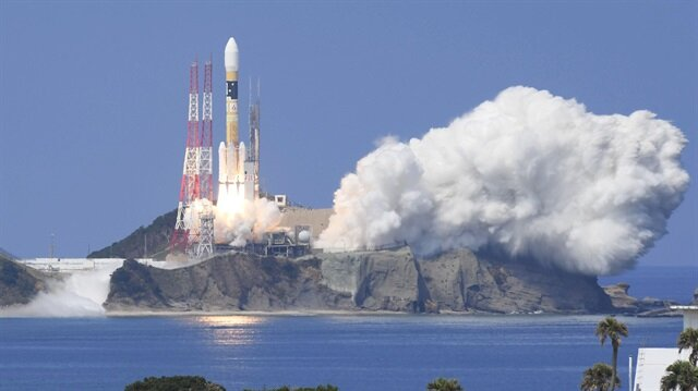 A H-IIA rocket carrying Michibiki 3 satellite, one of four satellites that will augment regional navigation systems
