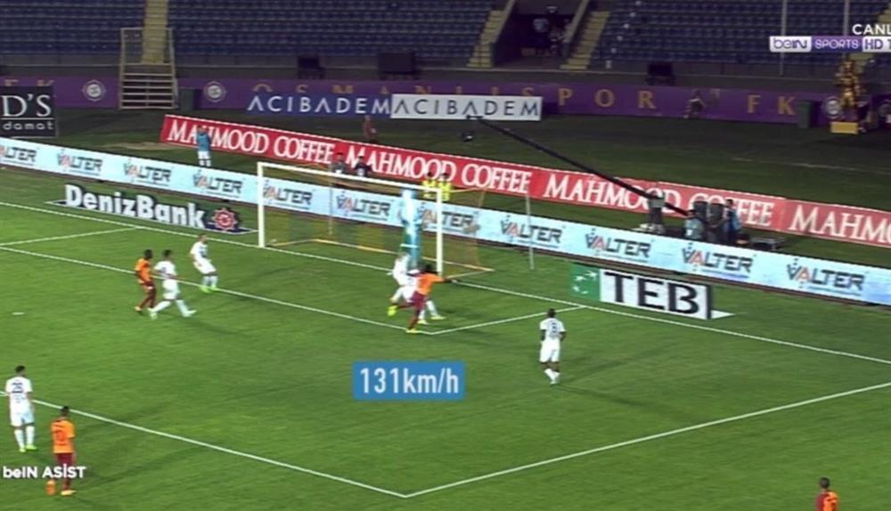 Bafetimbi Gomis'in Osmanlıspor'a attığı goldeki şutun hızının 131 km. olduğu açıklandı. (Görüntü beIN Sports'tan alınmıştır.)