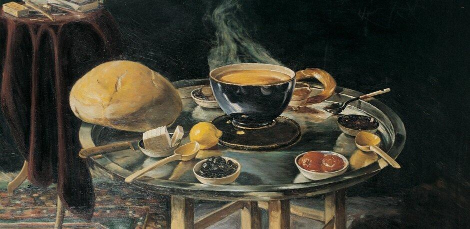 Sergide yer alacak tablolardan Hoca Ali Rıza'nın İftar Sofrası tablosu.