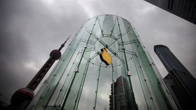An Apple logo is seen at an Apple store in Pudong